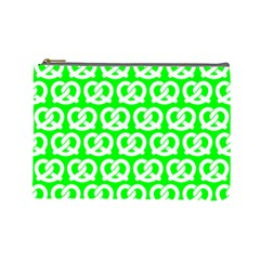 Neon Green Pretzel Illustrations Pattern Cosmetic Bag (large)  by creativemom