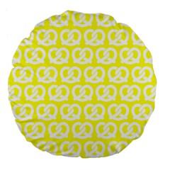 Yellow Pretzel Illustrations Pattern Large 18  Premium Flano Round Cushions by creativemom