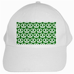 Green Pretzel Illustrations Pattern White Cap