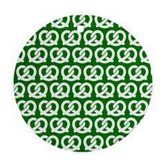 Green Pretzel Illustrations Pattern Round Ornament (two Sides)  by creativemom