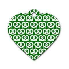 Green Pretzel Illustrations Pattern Dog Tag Heart (one Side) by creativemom