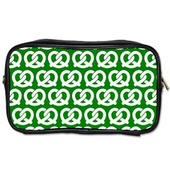 Green Pretzel Illustrations Pattern Toiletries Bags by creativemom