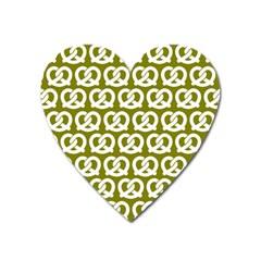 Olive Pretzel Illustrations Pattern Heart Magnet by creativemom