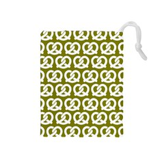 Olive Pretzel Illustrations Pattern Drawstring Pouches (medium)  by creativemom