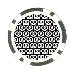 Black And White Pretzel Illustrations Pattern Poker Chip Card Guards by creativemom