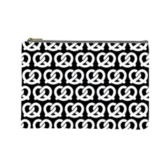 Black And White Pretzel Illustrations Pattern Cosmetic Bag (large)  by creativemom