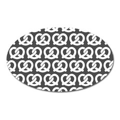 Gray Pretzel Illustrations Pattern Oval Magnet by creativemom
