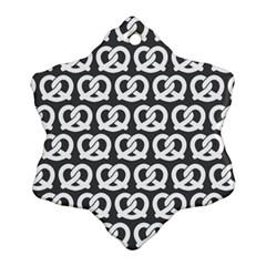 Gray Pretzel Illustrations Pattern Snowflake Ornament (2-Side)