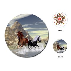 Beautiful Horses Running In A River Playing Cards (round)  by FantasyWorld7