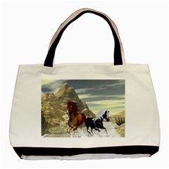 Beautiful Horses Running In A River Basic Tote Bag  by FantasyWorld7