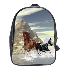 Beautiful Horses Running In A River School Bags (xl)  by FantasyWorld7