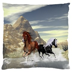 Beautiful Horses Running In A River Large Flano Cushion Cases (one Side)  by FantasyWorld7