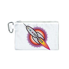 Space Rocket Canvas Cosmetic Bag (s) by theimagezone