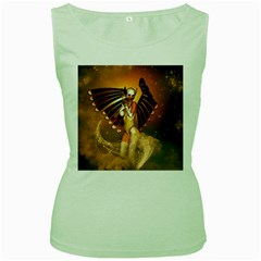 Beautiful Angel In The Sky Women s Green Tank Tops by FantasyWorld7