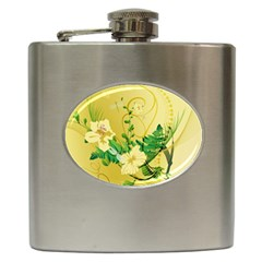 Wonderful Soft Yellow Flowers With Leaves Hip Flask (6 Oz) by FantasyWorld7