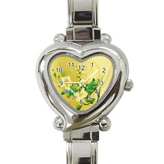 Wonderful Soft Yellow Flowers With Leaves Heart Italian Charm Watch by FantasyWorld7