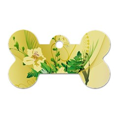 Wonderful Soft Yellow Flowers With Leaves Dog Tag Bone (one Side) by FantasyWorld7