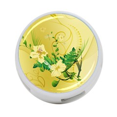 Wonderful Soft Yellow Flowers With Leaves 4 Port Usb Hub (one Side) by FantasyWorld7