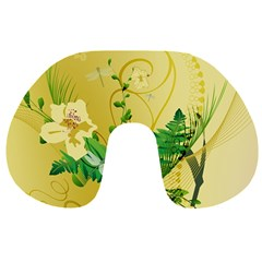 Wonderful Soft Yellow Flowers With Leaves Travel Neck Pillows by FantasyWorld7