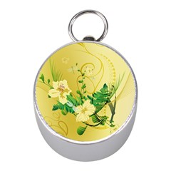 Wonderful Soft Yellow Flowers With Leaves Mini Silver Compasses by FantasyWorld7