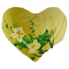Wonderful Soft Yellow Flowers With Leaves Large 19  Premium Flano Heart Shape Cushions by FantasyWorld7