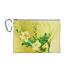 Wonderful Soft Yellow Flowers With Leaves Canvas Cosmetic Bag (m) by FantasyWorld7