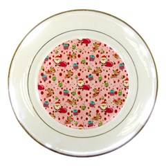 Red Christmas Pattern Porcelain Plates by KirstenStar