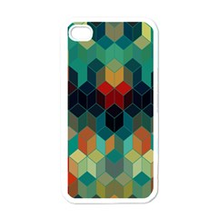 Colorful Modern Geometric Cubes Pattern Apple Iphone 4 Case (white) by Dushan