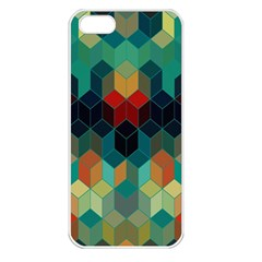 Colorful Modern Geometric Cubes Pattern Apple Iphone 5 Seamless Case (white) by Dushan