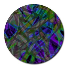 Colorful Abstract Stained Glass G301 Round Mousepads by MedusArt