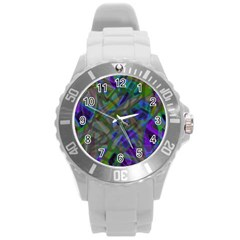 Colorful Abstract Stained Glass G301 Round Plastic Sport Watch (l) by MedusArt
