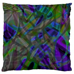 Colorful Abstract Stained Glass G301 Large Cushion Cases (one Side)  by MedusArt