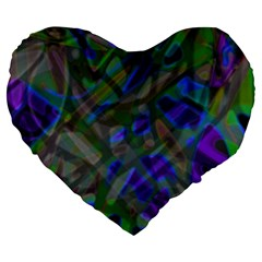 Colorful Abstract Stained Glass G301 Large 19  Premium Heart Shape Cushions by MedusArt