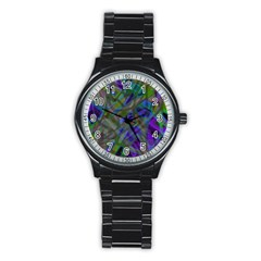 Colorful Abstract Stained Glass G301 Stainless Steel Round Watches by MedusArt