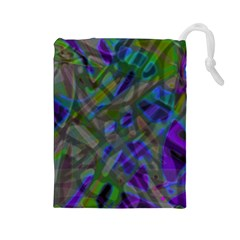 Colorful Abstract Stained Glass G301 Drawstring Pouches (large)  by MedusArt