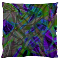 Colorful Abstract Stained Glass G301 Large Flano Cushion Cases (two Sides)  by MedusArt