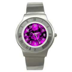 Phenomenal Blossoms Hot  Pink Stainless Steel Watches by MoreColorsinLife