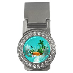 Surfboard With Palm And Flowers Money Clips (cz)  by FantasyWorld7