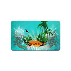 Surfboard With Palm And Flowers Magnet (name Card) by FantasyWorld7