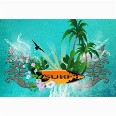 Surfboard With Palm And Flowers Collage 12  x 18  by FantasyWorld7