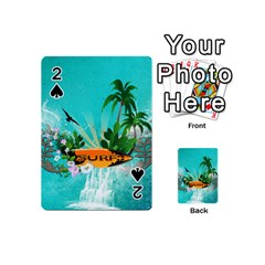 Surfboard With Palm And Flowers Playing Cards 54 (Mini)  by FantasyWorld7