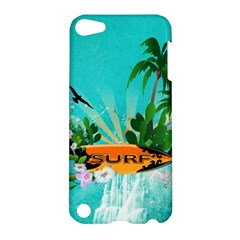 Surfboard With Palm And Flowers Apple Ipod Touch 5 Hardshell Case by FantasyWorld7
