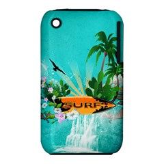 Surfboard With Palm And Flowers Apple iPhone 3G/3GS Hardshell Case (PC+Silicone) by FantasyWorld7