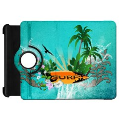 Surfboard With Palm And Flowers Kindle Fire HD Flip 360 Case by FantasyWorld7