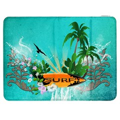 Surfboard With Palm And Flowers Samsung Galaxy Tab 7  P1000 Flip Case by FantasyWorld7