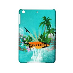 Surfboard With Palm And Flowers Ipad Mini 2 Hardshell Cases by FantasyWorld7