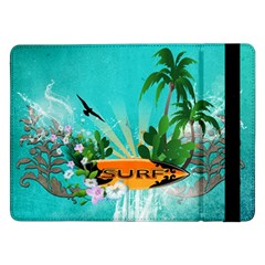 Surfboard With Palm And Flowers Samsung Galaxy Tab Pro 12 2  Flip Case by FantasyWorld7