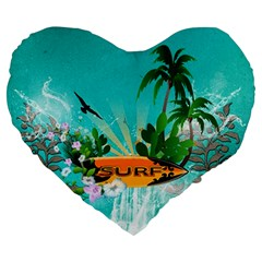 Surfboard With Palm And Flowers Large 19  Premium Flano Heart Shape Cushions by FantasyWorld7