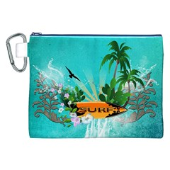 Surfboard With Palm And Flowers Canvas Cosmetic Bag (xxl)  by FantasyWorld7