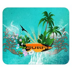 Surfboard With Palm And Flowers Double Sided Flano Blanket (small)  by FantasyWorld7